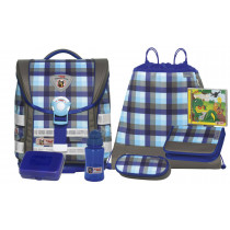 McNeill Schulranzen-Set ERGO Light Compact Caro blue 7-teilig